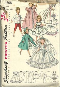Simplicity 1808-for Revlon and Cissy dolls, 1956