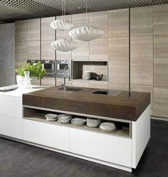 Are you tired of that same old cabinet design? A look into some modern kitchen with island: these may inspire you to make a change! Best Kitchen Designs, Modern Kitchen Design, Interior Design Kitchen, Stylish Kitchen, Modern Interior, Interior Decorating, Kitchen Dinning, Kitchen And Bath, Kitchen Decor