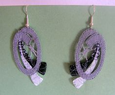 "Handmade bobbin lace earrings ""SHADES OF GREY""; gray, black and white with silver thread (Idrija lace)"