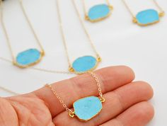 These delicate AF slices. | 25 Pretty Turquoise Necklaces That Are Delicate AF