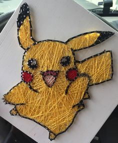 """pikachu pokemon 9"""" x 9"""" Completed $38 Nailed kit with String $29"""