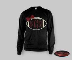 Football Monogram T Shirt Long Sleeve by SportzCrazyMama on Etsy