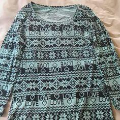 Long sleeve scoop neck T-shirt Baby blue snowflake printed love shirt Tops Tees - Long Sleeve