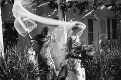 The veil in a gust of wind.