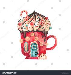 Winter Illustration, House Illustration, Christmas Illustration, Watercolor Illustration, Watercolor Paintings, Christmas Drawing, Watercolor Christmas, Christmas Cup, Cartoon Girl Drawing