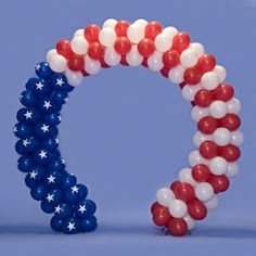 Everything you need to construct the best parade float like the Patriotic Balloon Arch Parade Float Kit and more can be found at Parade Float Supplies Now! 4th Of July Parade, Fourth Of July Decor, 4th Of July Decorations, Balloon Decorations Party, Balloon Garland, July 4th, Balloon Ideas, Up Balloons, Confetti Balloons