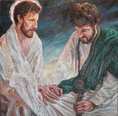 Rob Floyd Fine Art - Stations of the Cross, Christ and Judas108cm x 108cm