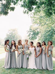 A Gray-on-Gray Wedding With a Modern Twist Bridesmaid Dresses gray bridesmaid dresses Grey Bridesmaids, Wedding Bridesmaid Dresses, Dream Wedding Dresses, Boho Wedding, Fall Wedding, Bridal Dresses, Wedding Gowns, Wedding Set, Dresses Dresses