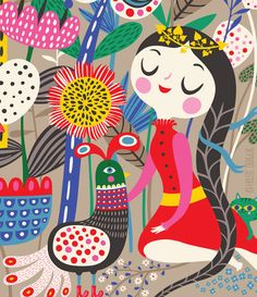 Fiona & Her Magic Garden...  limited edition giclee door helendardik, $25.00