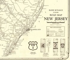 1927 Antique NEW JERSEY State Road Map Large Poster Size Black and White Gallery Wall Art Anniversary Gift For Birthday Wedding 11583 by plaindealing on Etsy