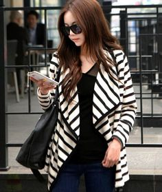 818949d1e5a63 Long Sleeve Striped Knit Cardigan Marked XL but runs a little bit small