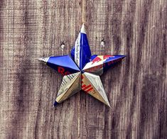 Upcycled Red Bull Energy Drink Can Star Ornament by LicenseToCraft