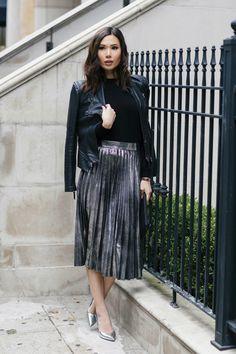 Jacket: Blank NYC // Skirt: Zara // Heels: Zara // Clutch: She + Lo