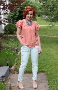 Thrift and Shout blog; cute outfit of the day, ruffles, Target, Goodwill, pastels, nude heels, red hair, fashion, mint, peach, necklace, thrift