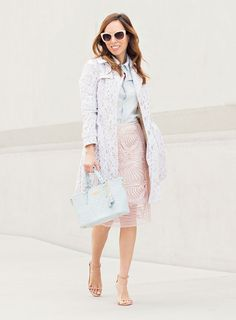 Sydne Summer styles her Tadashi Shoji Passementerie Seashell Embroidered Tulle Skirt to pastel perfection.