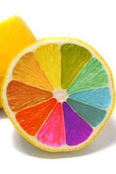 Colour wheel on an orange.  Has the primary and secondary colours in it and different tints of those: Primary: red blue and yellow Secondary: Green purple orange