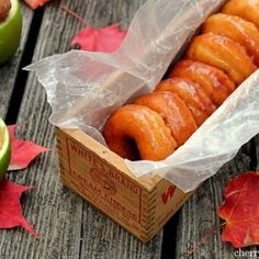 Perfect for fall, these raised donuts are covered with apple cider glaze, made from scratch and full of cinnamon and buttery goodness!