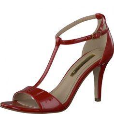 Super fræk rød Tamaris lak sandal med T-rem og stilet hæl