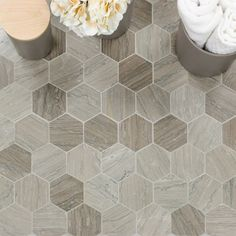 Tennessee Taupe Hexagons Polished Marble Tile Sometimes there are six sides to every story. Orderly hexagon mosaics get a dose of lavish eleganc Marble Tile Bathroom, Marble Mosaic, Glass Mosaic Tiles, Mosaic Wall, Neutral Bathroom Tile, Carrara Marble, Bathroom Flooring, Wall Tiles, Shower Floor