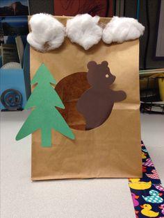 teddy bear die cut on craft stick. -1 xmas tree die - brown paper bag ...