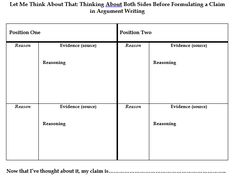 Planning for Argument Writing - Achieve the Core Aligned Materials Achieve The Core, Graphic Organisers, Writing Graphic Organizers, Student Crafts, Argumentative Writing, Instructional Strategies, Writing Resources, Social Studies, Positivity