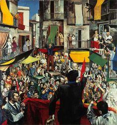 Renato Guttuso - Comizio di quartiere (Neighbourhood Rally, 1975)