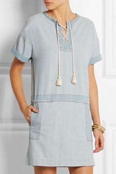 MiH Jeans | The Poncho cotton-chambray mini dress