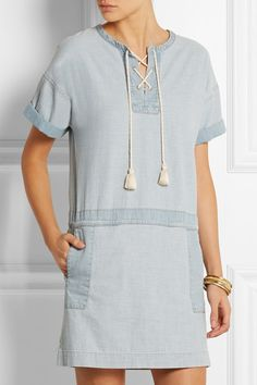 MiH Jeans | The Poncho cotton-chambray mini dress