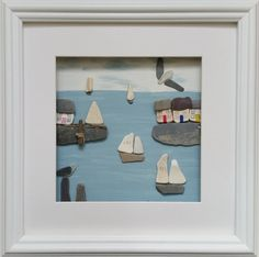 Cornish Harbour Scene, pebble Art, Sea Pottery