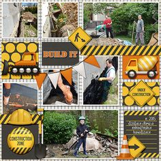 Working Man Blues is a digital scrapbook kit by Kristin Aagard that includes a variety of elements and papers to create construction and building themed scrapbook pages and projects. Birthday Scrapbook Layouts, Scrapbook Sketches, Scrapbooking Layouts, Scrapbook Cards, Digital Scrapbooking, Construction Birthday, Working Man, Layout Design, Color Blocking