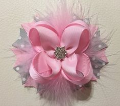 Pink and Gray Boutique Hair Bows , Fancy Hair Bow,Stacked Hair Bow , Pink and Gray Hair Bow,Vintage White Hair Bows, Ribbon Hair Bows, Diy Hair Bows, Diy Bow, Ribbon Flower, Fabric Flowers, Tiaras Vintage, Vintage Hair Bows, Vintage Pink