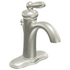 Moen Brantford™ Single-Handle Lavatory Faucet with Lever Handles Brushed Nickel M6600BN (Ferguson, $240)