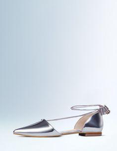 Silber-Glanzmetallic Flache Florence Schuhe mit spitzer Zehenpartie Boden