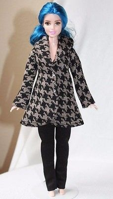 Clothes For Curvy Barbie Doll. houndstooth Print Jacket And Leggings For Doll.