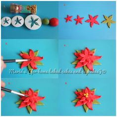 Step by step using PME fondant cutters. Christmas Cake Designs, Christmas Cake Decorations, Fondant Decorations, Christmas Cupcakes, Fondant Flower Tutorial, Fondant Flowers, Clay Flowers, Sugar Flowers, Fondant Figures