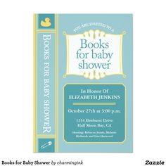Books for Baby Shower 5x7 Paper Invitation Card