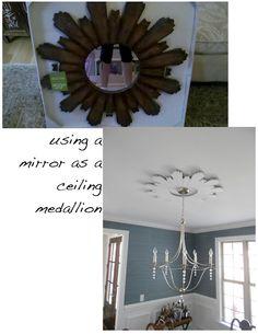 using a mirror as a ceiling medallion