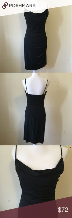 David Meister Little Black Dress Simple yet stunning LBD from David Meister. Features super flattering draping along neckline, boning on side of chest to maintain shape, slight ruching on one side. Throw on your favorite heels and go.. or jazz it up with jewelry!  95% polyester, 5% spandex with polyester lining.  Size 8. Excellent condition. David Meister Dresses Mini