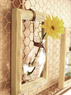 Great idea for DIY country-style home decor ... I have a lot of spare glass bottles and a lot of empty frames, and this would go perfectly in some rooms of my house!