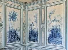 The amazing restoration of the Champs-sur-Marne castle Elle Décoration Chinoiserie Wallpaper, Chinoiserie Chic, Of Wallpaper, Champs Sur Marne, Painted Paneling Walls, Wall Murals, Wall Art, Grisaille, Asian Decor