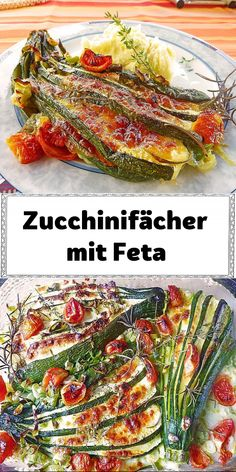Zucchini, Veggie Recipes, Veggie Food, Feta, Food And Drink, Low Carb, Vegetarian, Polenta, Vegetables