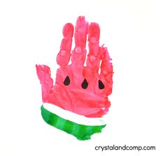 w is for watermelon hand print art for preschoolers