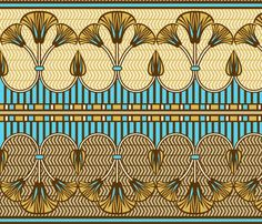 Egyptian ornate lily border fabric by cjldesigns on Spoonflower - custom fabric Art Nouveau, Art Deco, Border Design, Pattern Design, Textures Patterns, Fabric Patterns, 1000 Tattoos, Zentangle, Egyptian Party