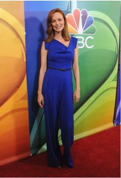 ee3231619a9b Heather Graham wearing the Jackie O Jumpsuit in Cobalt Heather Graham