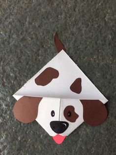 Cute animal corner bookmark fun activity for kids, cute gift . - Cute animal corner bookmark fun activity for kids, cute gift idea _ Dog 🐶 – special gifts - Bookmark Craft, Origami Bookmark, Corner Bookmarks, Bookmarks Kids, Origami Art, Origami Boxes, Origami Flowers, Dog Crafts, Animal Crafts