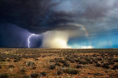 Lightening, tornado, and rainbow all at once.