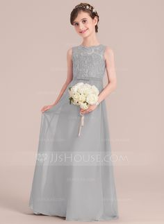 d2f14e360 A-Line/Princess Scoop Neck Floor-Length Chiffon Junior Bridesmaid Dress  With Bow