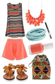 Outfit de sábado de verano. Tendencia: pastel y étnica