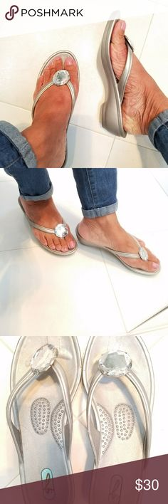 """Okal Grey Slippers All about that bling. Very comfortable slippers with large """"bling"""" in front! Worn once! Okal Shoes Slippers"""