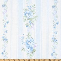 SHABBY CHIC ASHWELL BLUE ROSE AND STRIPES FABRIC | eBay